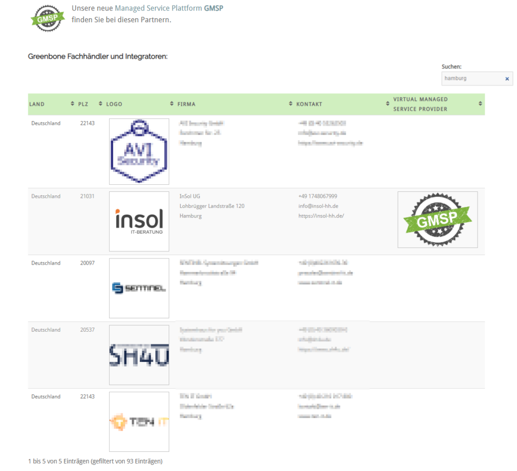 Greenbone Virtual Managed Service Provider in Hamburg
